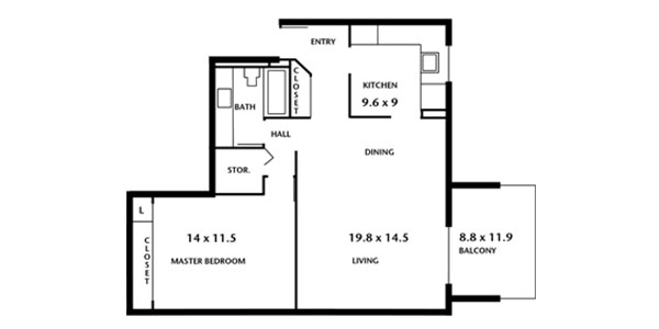 Hampton House Apartments - one bedroom