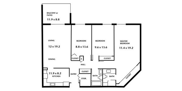 Hampton House Apartments - two bedroom