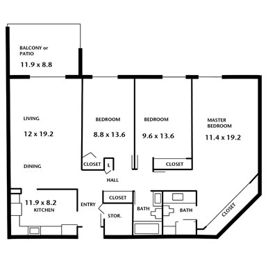 Hampton House Apartments - three bedroom